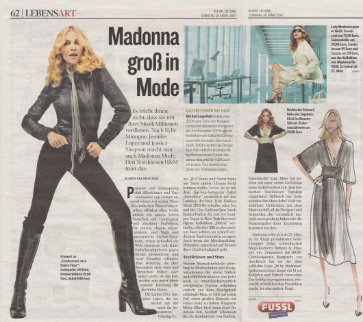 Yesterdays Edition Of Austrian Newspaper Kleine Zeitung Featured This Article About Fashion Collections Designed By Stars But Mainly Focuses On The M