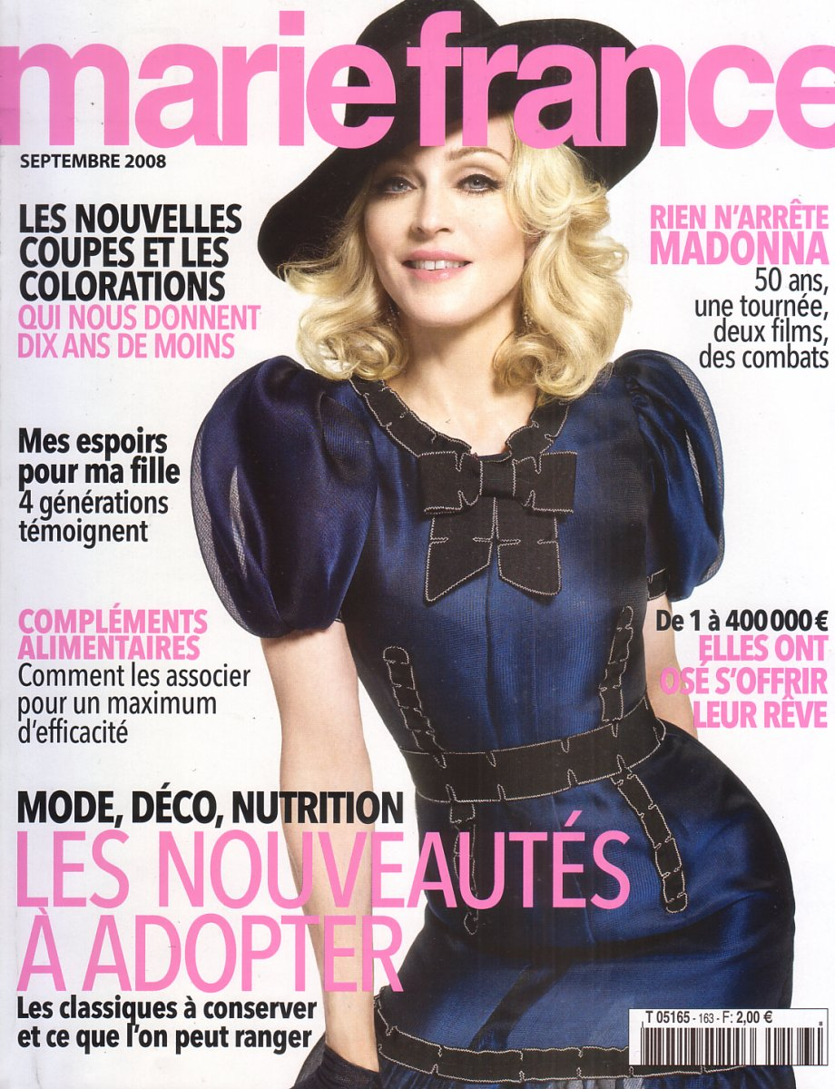 madonnalicious french magazines marie france. Black Bedroom Furniture Sets. Home Design Ideas