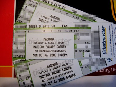 Gentil Madonnalicious Reader James Is Already The Proud Owner Of Some Sticky U0026  Sweet Tour Tickets For Madison Square Garden   Thanks To The Fanclub  Pre Sale.
